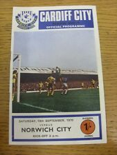 19/09/1970 Cardiff City v Norwich City  . Condition: Listed previously in bracke