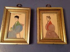 Pair Of Naive Folk Art Style Portraits Of Women Hand Colored Theorem? Stencil?