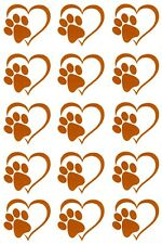 "Heart Paw Print 15 pcs 1"" Gold Fused Glass Decals 5"" X 3-1/2"" Card 18CC1040"