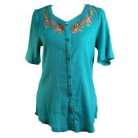 D & Co Womens Top Size Small Blue Short Sleeves Button Up V-Neck Embroidery