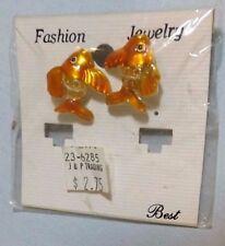 Fish Pierced Stud Earrings Enamel Gold & Orange New