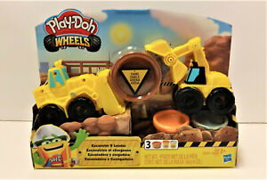 Play-Doh Wheels Excavator and Loader Toy Construction Trucks NEW