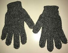 womens ONE SIZE fits most POLY CHARCOAL WINTER GLOVES gray/black stretch PRIMARK