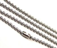 Ball Chain Necklace Surgical Steel Hypoallergenic 2 mm Lengths 16 - 23 inches