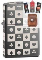 Zippo 29082 all 4 card suits 5 sided Lighter + FUEL FLINT WICK POUCH GIFT SET
