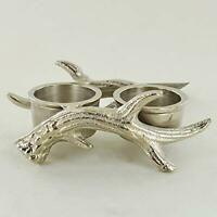 Silver Antler Double Tea Light Candle Holder Winter Stag Deer Decor New & Boxed