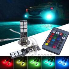 2pcs H3 12-SMD RGB LED Bulbs For Fog Light Parking Lamp DRL Yellow Blue Green