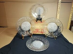Vintage Fantasia Princess House #437 Set of 4 Glass Luncheon Plates Clear In Box