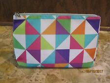 Clinique Bold Geometric Print Zip Cosmetic Bag NEW