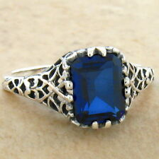 ROYAL BLUE LAB SAPPHIRE 925 STERLING SILVER ANTIQUE DESIGN RING SIZE 10, #718