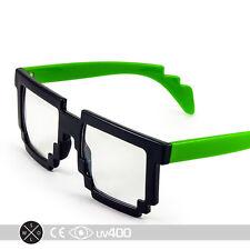 Neon Green Trendy Dual Color Party Clear Lens 8-Bit Bitmap Glasses 8 Bit S068