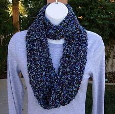 SMALL INFINITY SCARF Blue Purple Black, Soft Skinny Handmade Crochet Loop Cowl