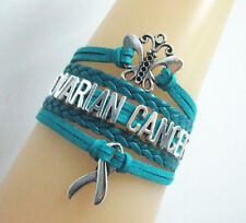 Butterfly OVARIAN CANCER with CancerRibbon Charms Suede Leather Bracelet