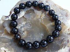 Men's Bracelet NATURAL Gemstone 10mm BLACK AGATE beads Elastic streachable