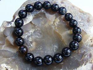 Men's Beaded Bracelet NATURAL Gemstone BLACK AGATE beads Elastic stretchable