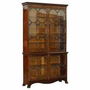 EXQUISITELY MADE SOLID MAHOGANY ASTRAL WATER GLAZED VICTORIAN LIBRARY BOOKCASE