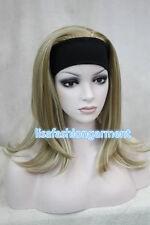 Onorevoli Bionda Mix dritto MEDIUM donne DAILY 3/4 metà Parrucche con Cerchietto Parrucca