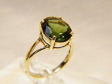 Beautiful 10 K Gold Dark Green Large 5 ct Oval Cut Peridot Sz 6 Cocktail Ring
