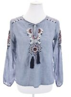 Rebellion Again Embroidered Tassel Tunic Top Chambray Blue Womens Sz M