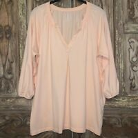 LL Bean Women's Size Large Top Pink V- Neck Blouse 3/4 Sleeve Tunic