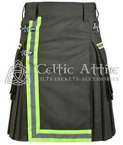 Premium Handmade Kilt - Fireman Kilt Tactical Utility Kilt Fire Department Kilt