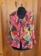 pink red yellow navy floral polka dot chiffon lace-up blouse tunic top L 16-18