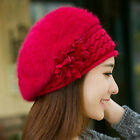 Women Winter Warm Cap Knitted Hat Rabbit Fur Headgear Headdress