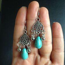 Earrings Turquoise Silver Tribal Belly Dance Hippie Bohemian Ethnic Boho A1080