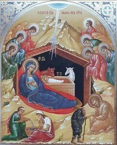 Icon Nativity of Christ  Bilder für Weihnachtsiko Russian ortodox 11 by 13cm