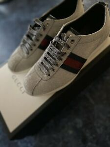 GUCCI BAMBI WEB METALLIC GLITTER SNEAKERS SIZE G 6/US 6.5 MSRP $730 AUTHENTIC
