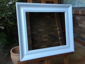 Decor Wall Mirror Traditional Profile Matt White Wood Frame 56cm x 50cm