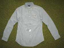 Slim Fit (M) POLO-RALPH LAUREN Blue Chambray/ Denim PONY Shirt
