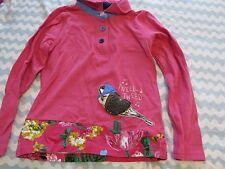 LITTLE JOULES pink BIRD floral MOXIE APPLIQUE LONGSLEEVE polo top SHIRT SIZE 8
