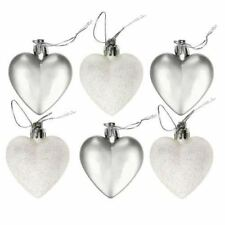 12 Heart Shape Silver White Christmas Bauble Decoration Tree Party Ornament Gift