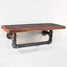 Rustic Industrial DIY Floating Pipe Shelf - 61x25cm