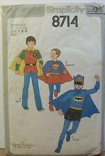Simplicity Pattern 8714 Boys Costume Superman Batman Robin Size 7 & 8 Used 1978