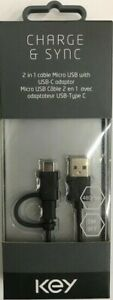 Key - 2-in-1 Micro & USB Type-C Charge and Sync 3 Ft Cable - Black