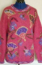 Icelandic Design Womens Sweater Sz L Mohair Wool Pink Floral Botanical Pullover