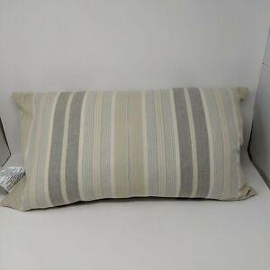 Ralph Lauren Throw Pillow Rectangle Striped Neutral Beige Gray Cotton 14 x 26