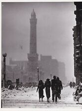 Vintage 1920's photo of a blizzard in Chicago IL