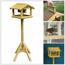 DELUXE WOODEN BIRD TABLE WITH BUILT IN FEEDER FREE STANDING BIRD FEEDING STATION