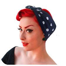 Navy Polka Dot Bandana, Rockabilly Head Scarf, Retro Headscarf, Vintage Outfit