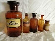 Pharmacie lot de 5 anciens flacons bocaux en verre brun avec bouchon en verre (4