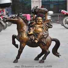 "25""china buddhism bronze gilt wealth Cabbage Maitreya Buddha riding horse statue"