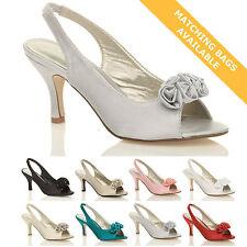 Women's Satin Slim Mid Heel (1.5-3 in.) Slingbacks Shoes