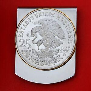 1968 Mexico Olympic 25 Pesos Silver Coin Ley .720 Silver Coin Large Money Clip