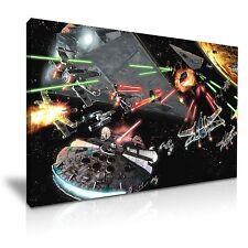 STAR Wars Battaglia Combattimento Tela WALL ART PICTURE PRINT 45x30cm