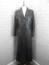 Vintage 1980s Ladies Extra Long Black Leather Trench Over Coat Goth Grunge 12