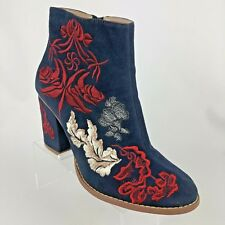 Anthropologie Billy Ella Elena Ankle Boot Embroidered Blue Size 7.5 Booties