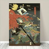 "Vintage Japanese SAMURAI Warrior Art CANVAS PRINT 36x24"" Kuniyoshi Battle #253"